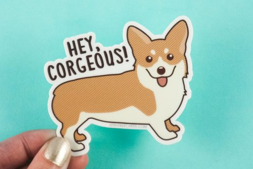 $2.99 HEY CORGEOUS! CORGI STICKER