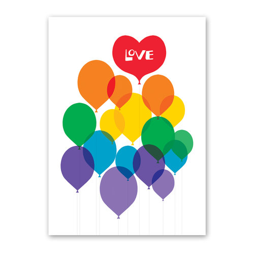 $3.99 RAINBOW BALLOON LOVE CARD