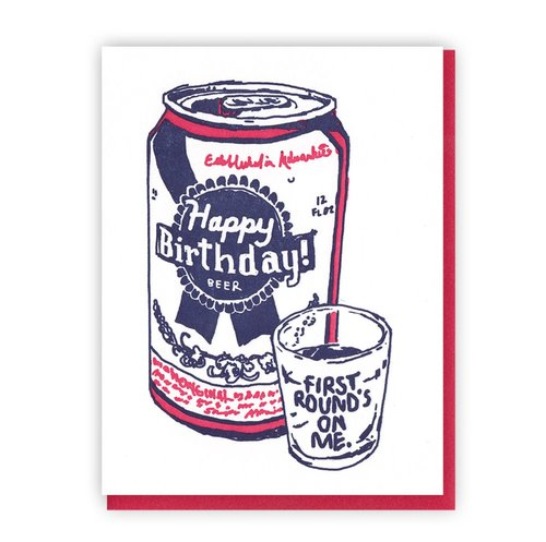 $4.49 PABST BLUE RIBBON BIRTHDAY CARD