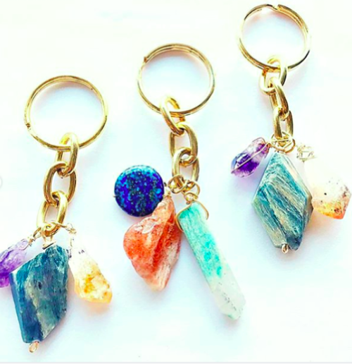 $19.99 GEMSTONE CRYSTAL KEYCHAIN -- LAPIS, RED SUNSTONE, TURQUOISE CRYSTAL