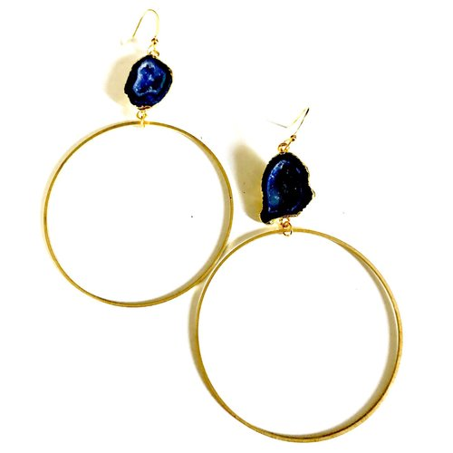 $27.99 BLUE DRUZY HOOP EARRINGS
