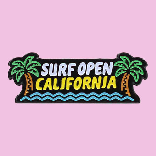 $9.95 SURF UP CALIFORNIA GLOW IN THE DARK NEON PIN