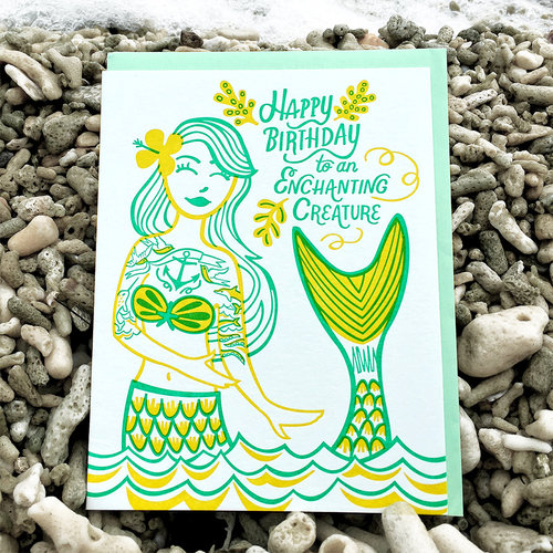 $4.99 ENCHANTING CREATURE MERMAID BIRTHDAY CARD