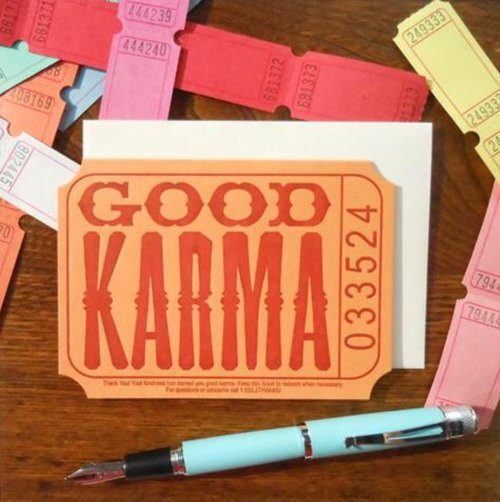 $4.49 GOOD KARMA TICKET THANK YOU CARD