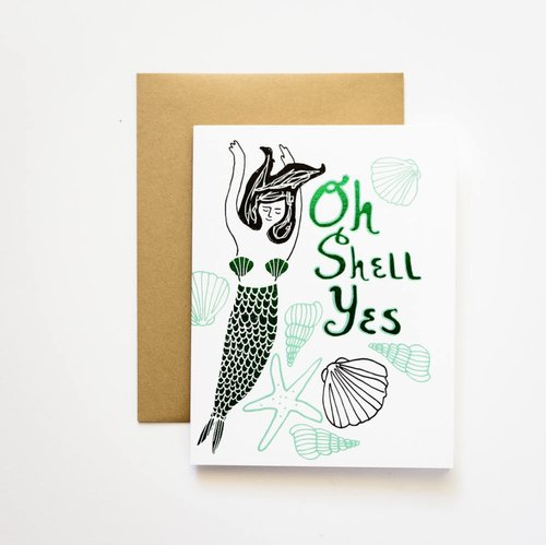 $4.99 OH SHELL YES FOIL MERMAID CARD