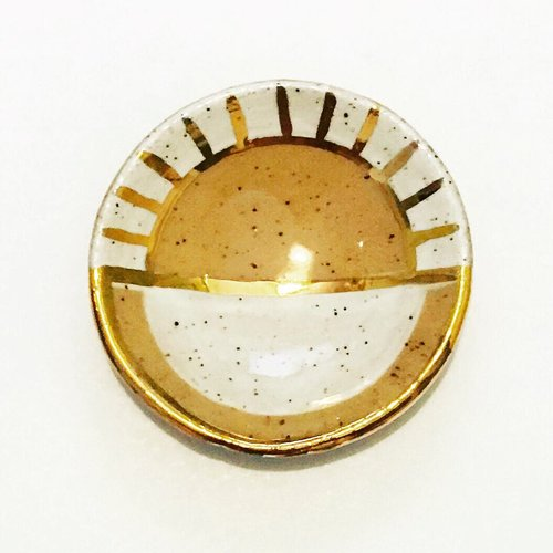 $24.99 WHITE & GOLD LUSTER SUNRAY JEWELRY DISH