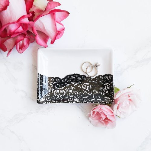 $14.99 BLACK LACE JEWELRY DISH