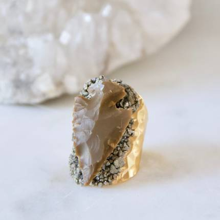 $29.99 ARROWHEAD & PYRITE CUFF RING