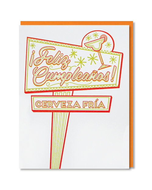 $4.99 FELIZ CUMPLEANOS NEON SIGN BIRTHDAY CARD