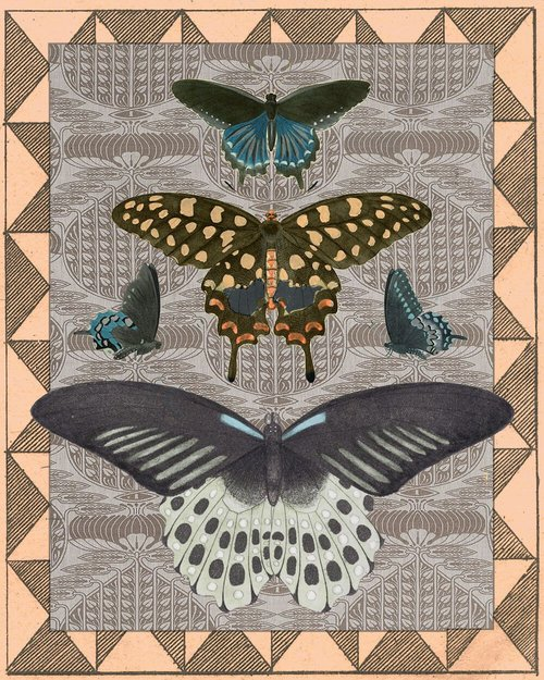 $17.99 LE PAPILLON BUTTERFLY COLLAGE ART PRINT