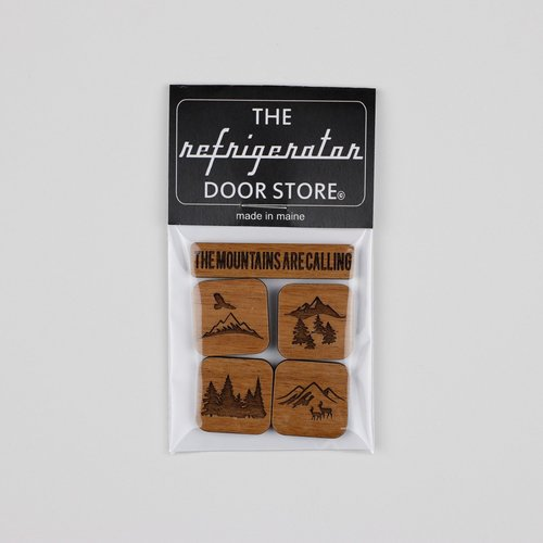$9.99 THE MOUNTAINS ARE CALLING WOOD MAGNET SET