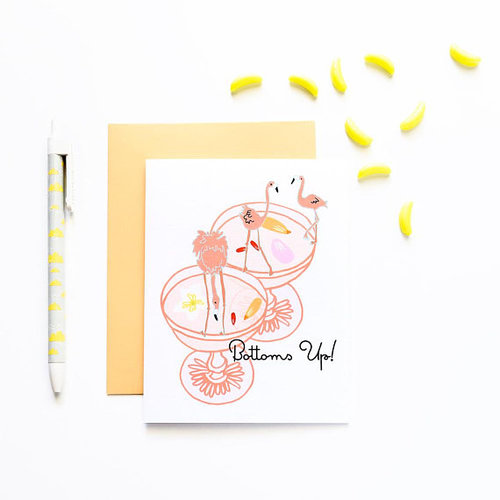 $4.99 BOTTOMS UP FLAMINGO CARD