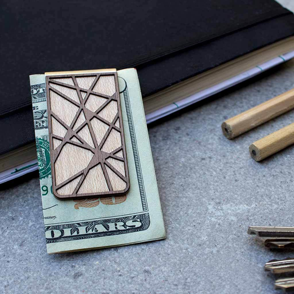 $27.99 GRID WALNUT & MAPLE MONEY CLIP
