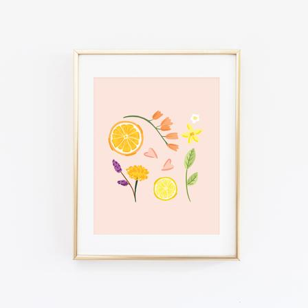$19.99 CITRUS & FLOWERS ART PRINT
