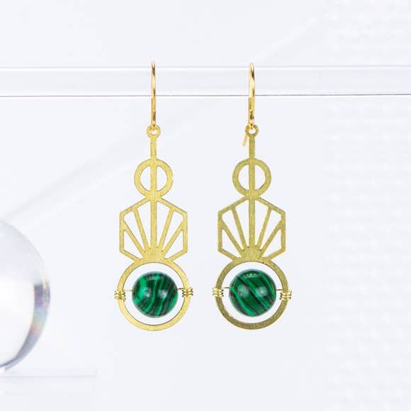 $39.99 MALACHITE ART DECO EARRINGS
