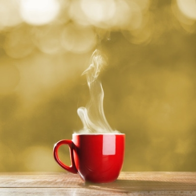 A steamy, hot mug of coffee