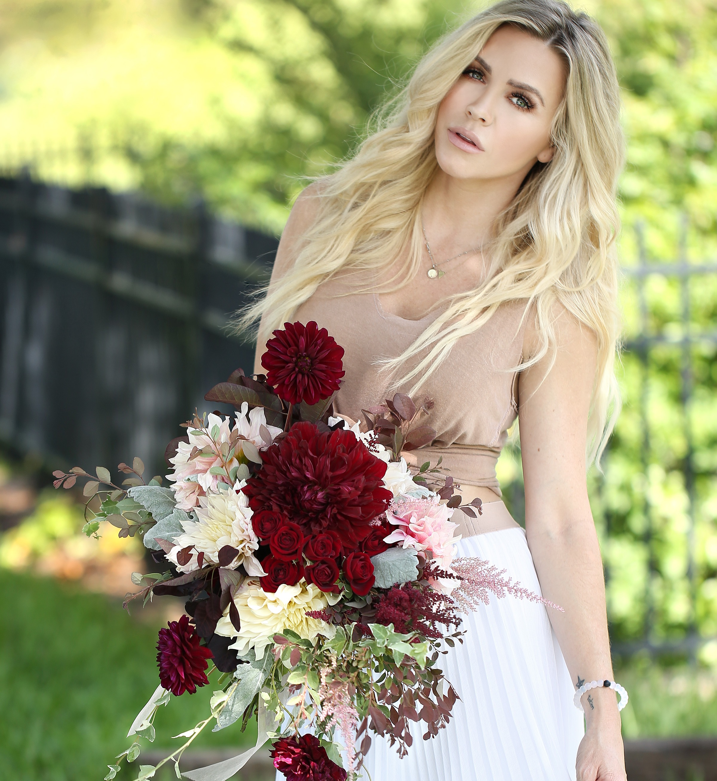 dahlias, spray roses, garden roses and greenery