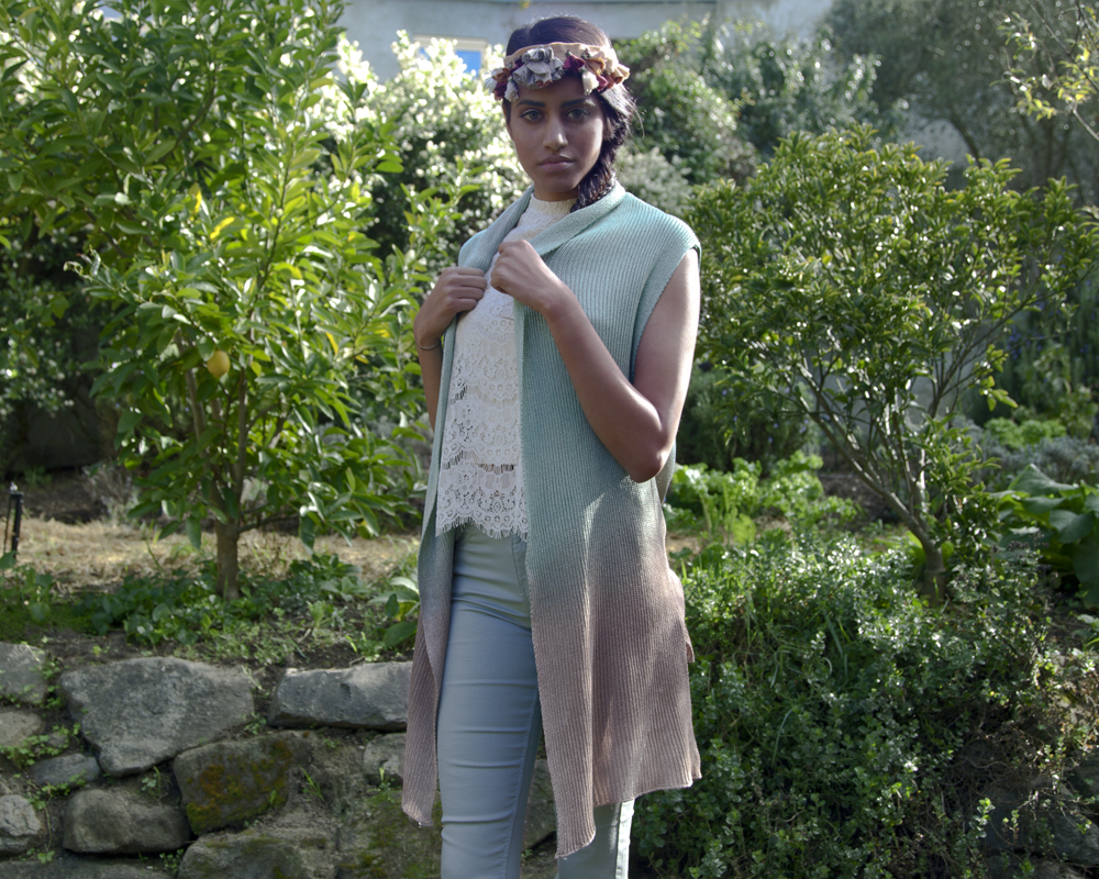 Myth of the West Handmade Clothing Long Vest for Spring in Blue Brown Ombre