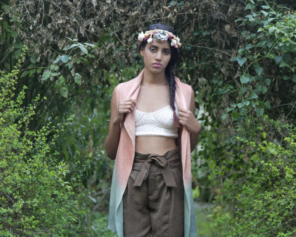 Peach and Blue Ombre Long Silk Knit Vest Handmade by Myth of the West Bay Area Local Women's Fashion