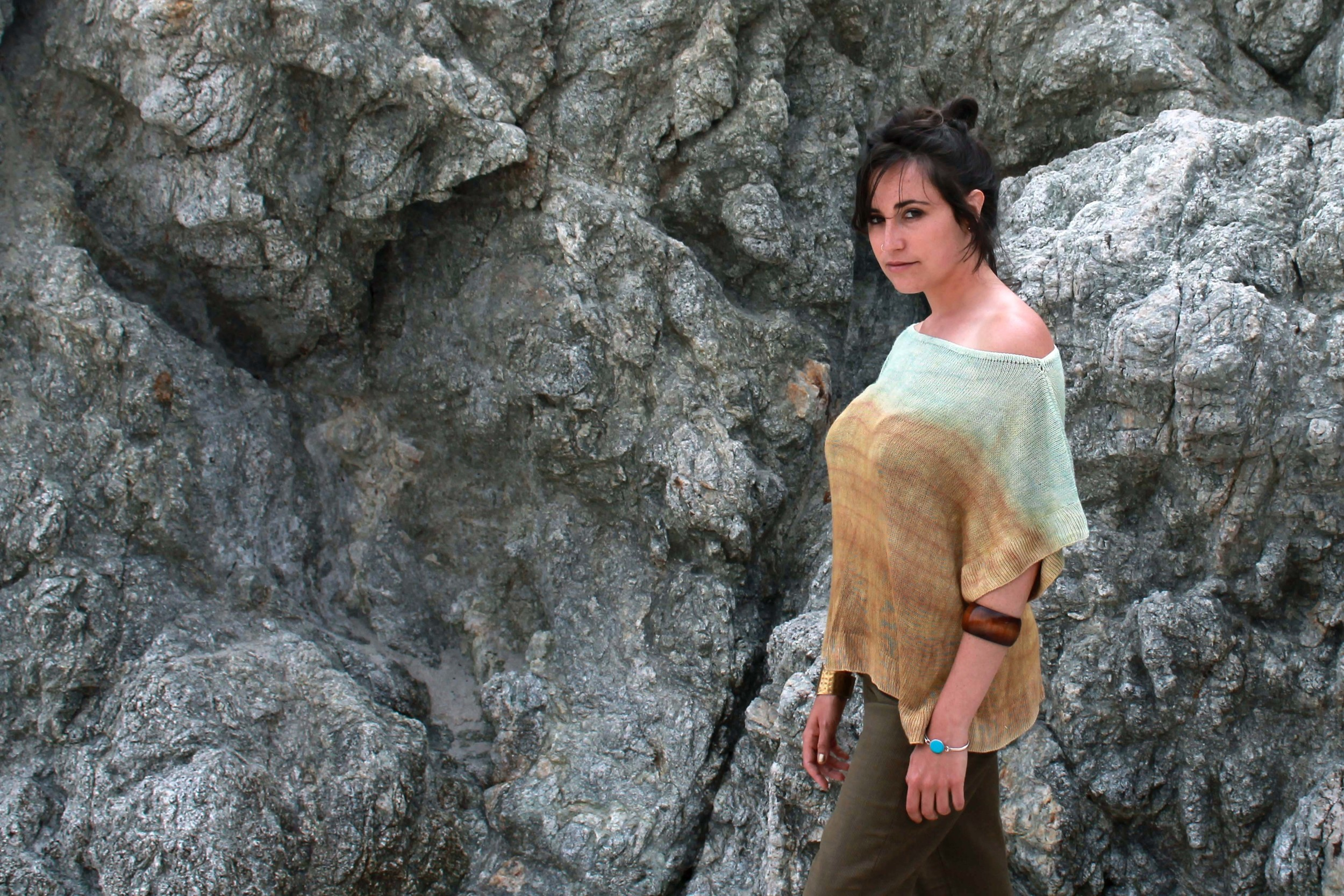 Silk Boatneck Ombre Top Knit and Dyed by Myth of the West California Fashion