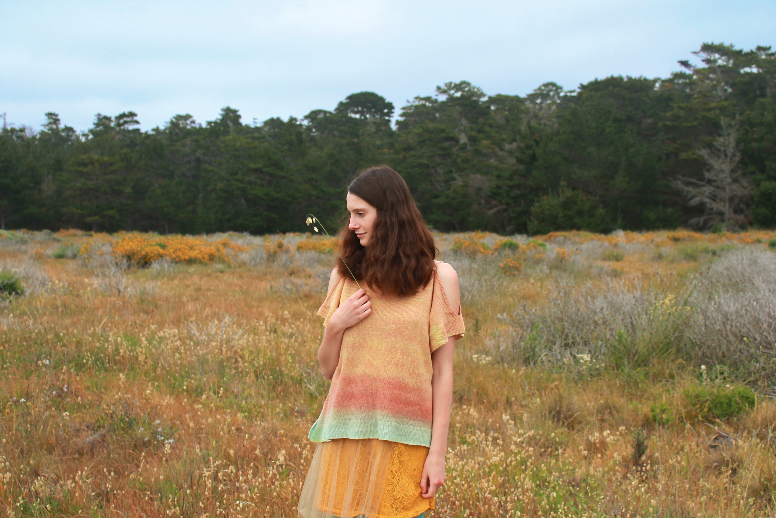 Off Shoulder Natural Wool Handmade Knit Dyed Shirt Myth of the West