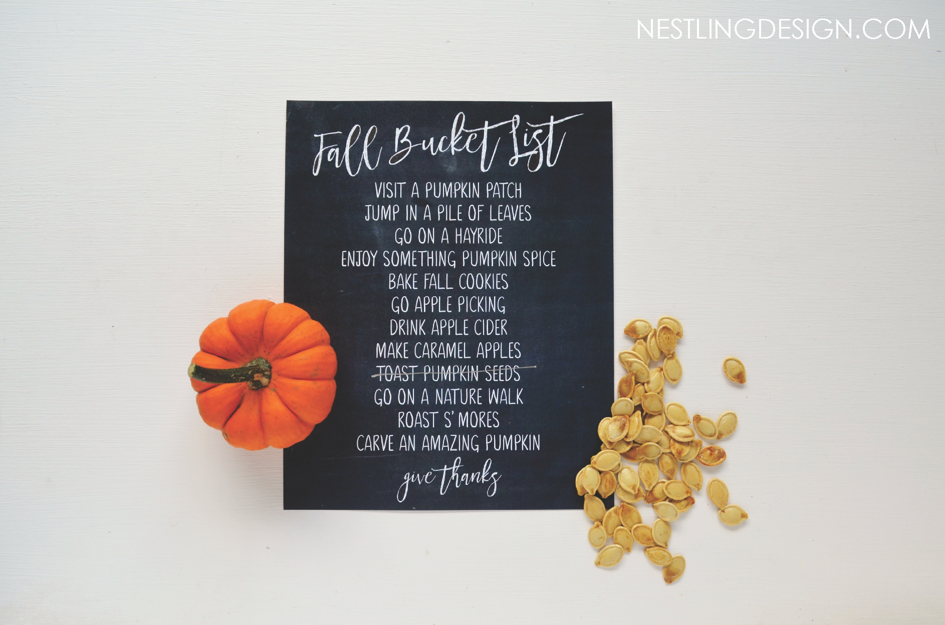 FREE printable Fall bucket list | NestlingDesign.com