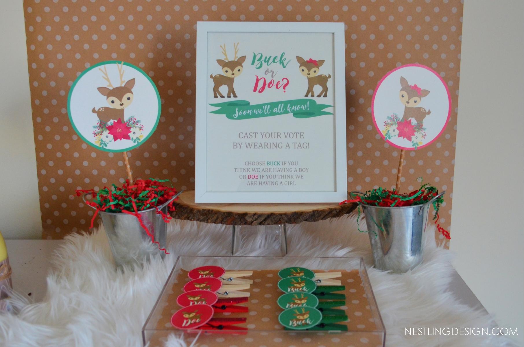 Holiday Gender Reveal Party | NestlingDesign.com