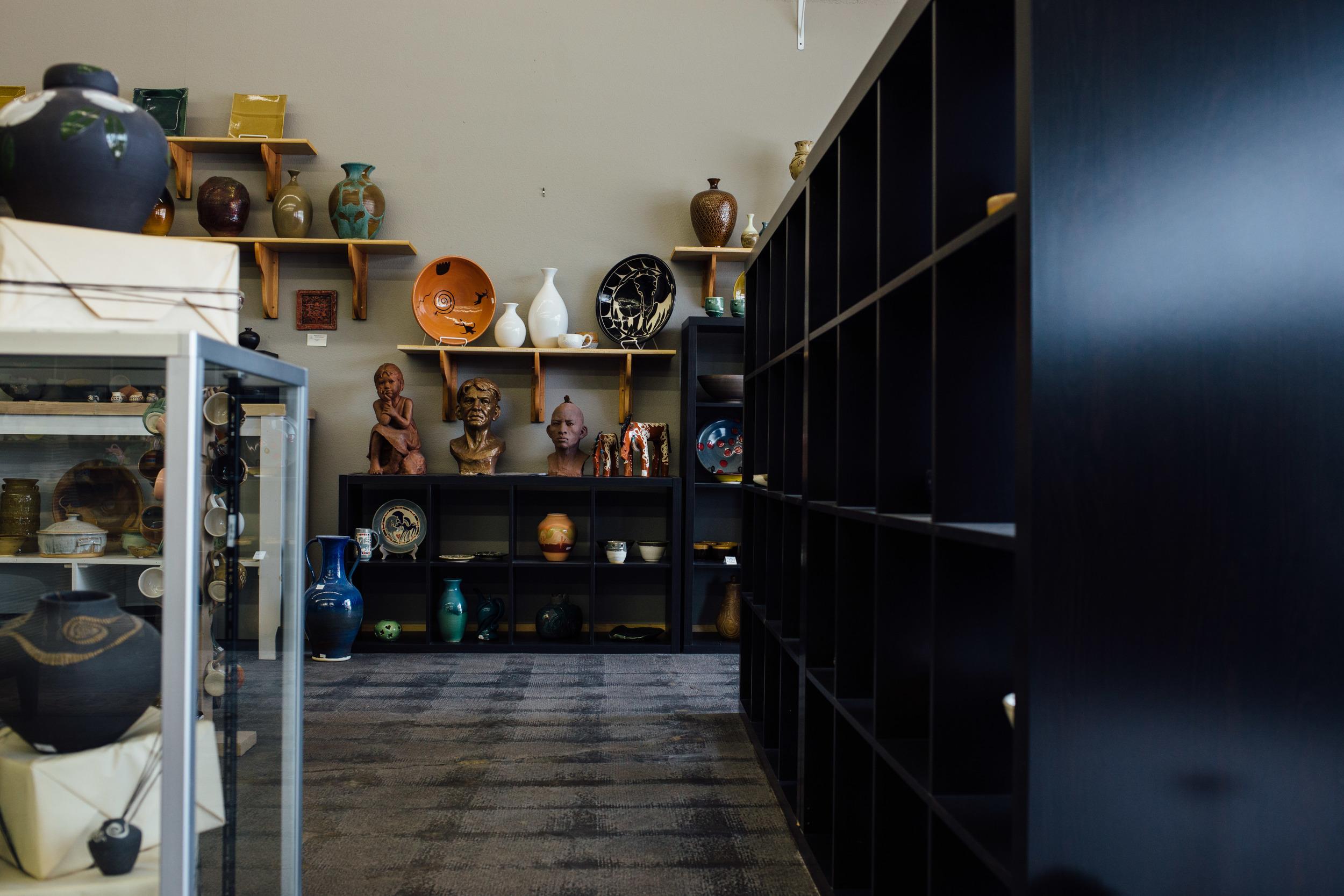 Shop interior pottery studio artist local business St George UT
