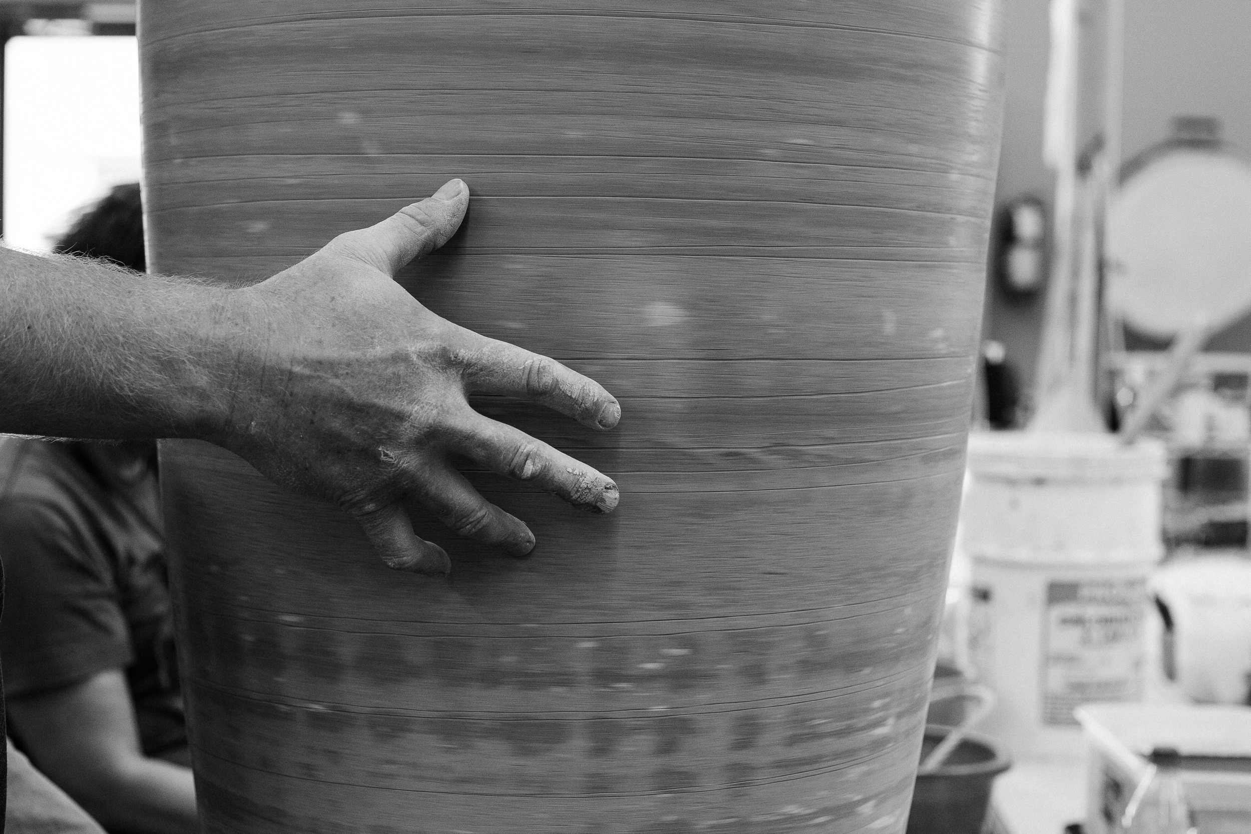 Potter's hand black and white detail clay pot St George UT