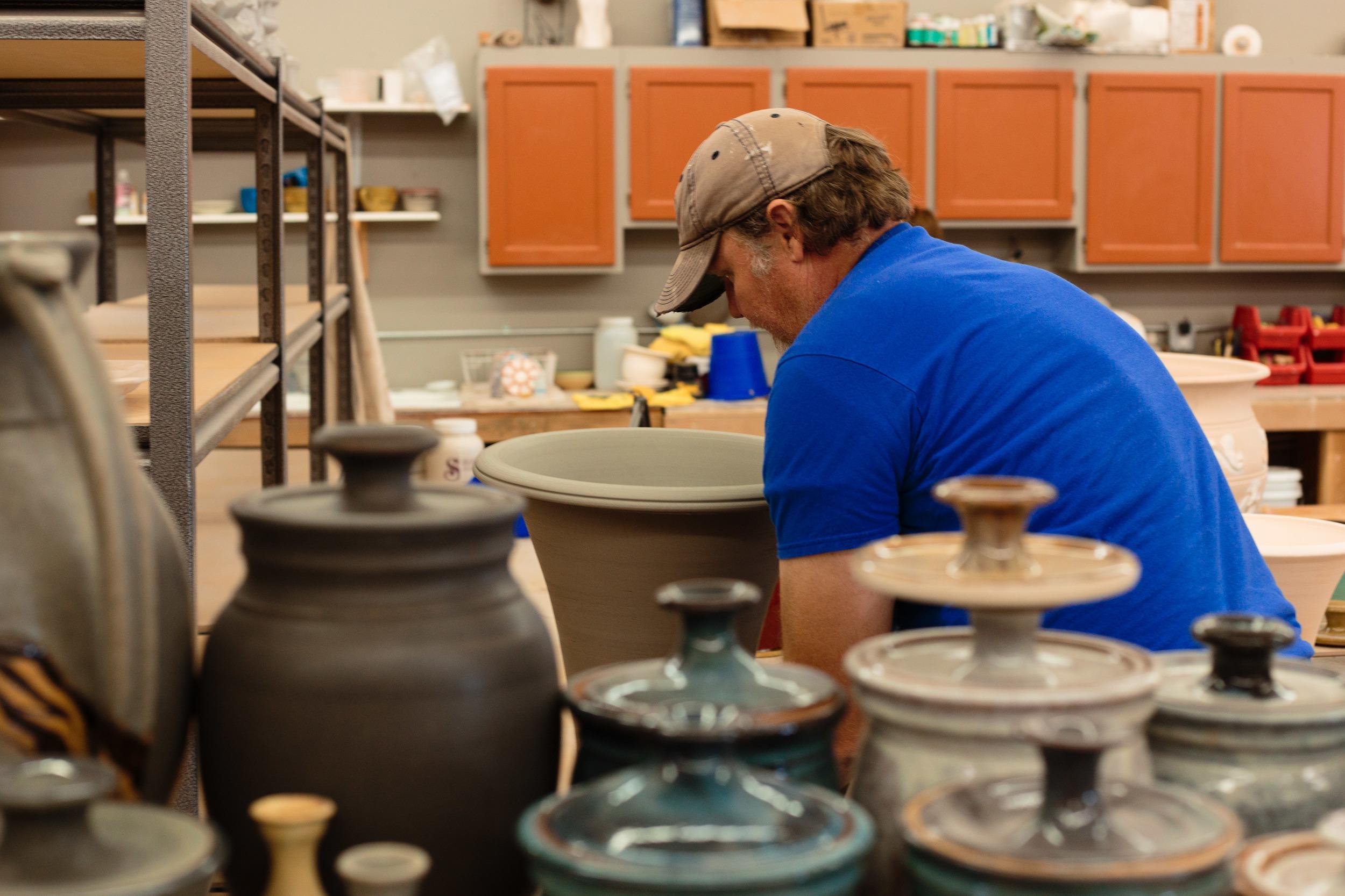 Potter working Pottery Studio St George UT