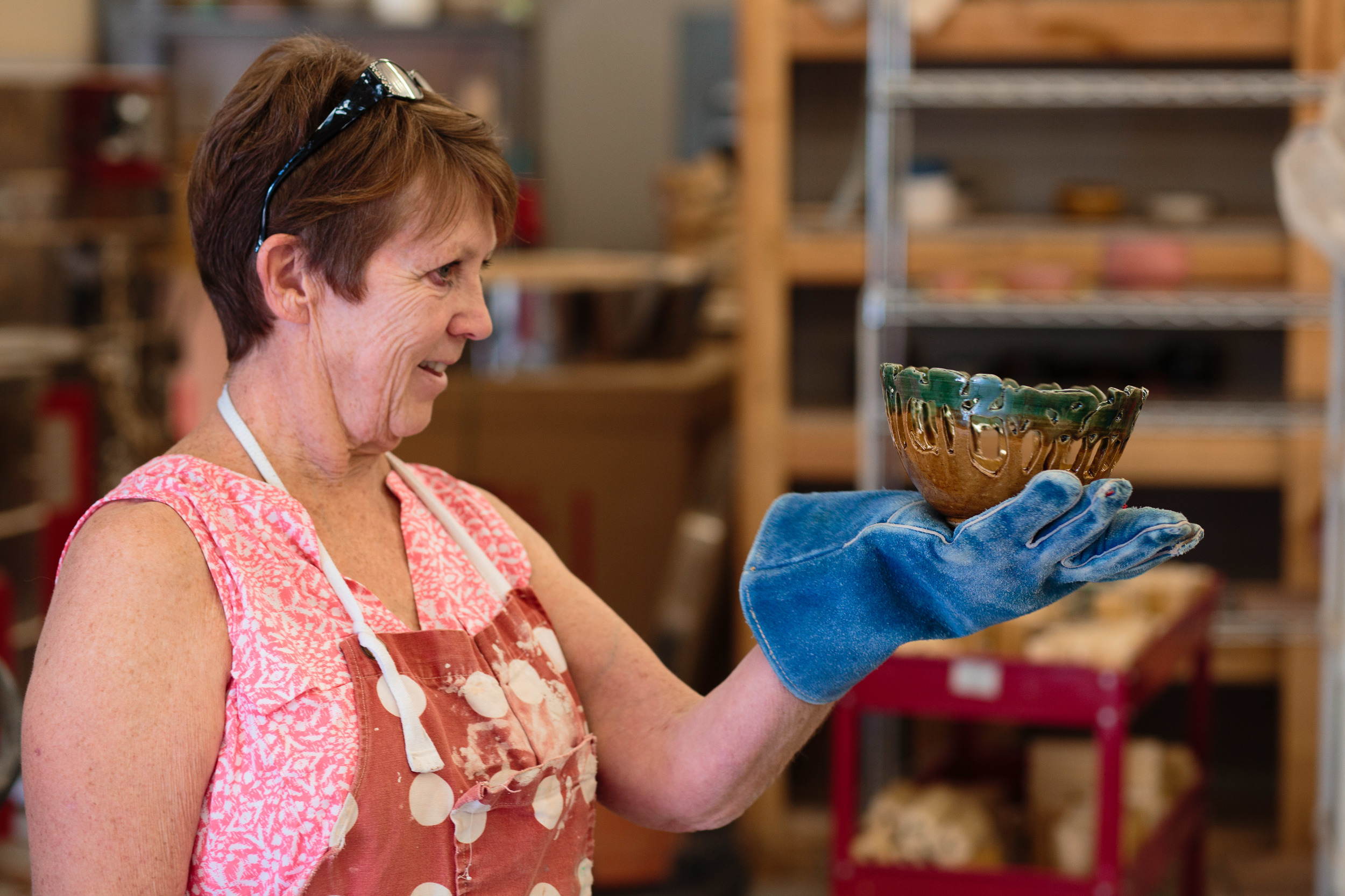 Pottery Artist glaze fired bowl art