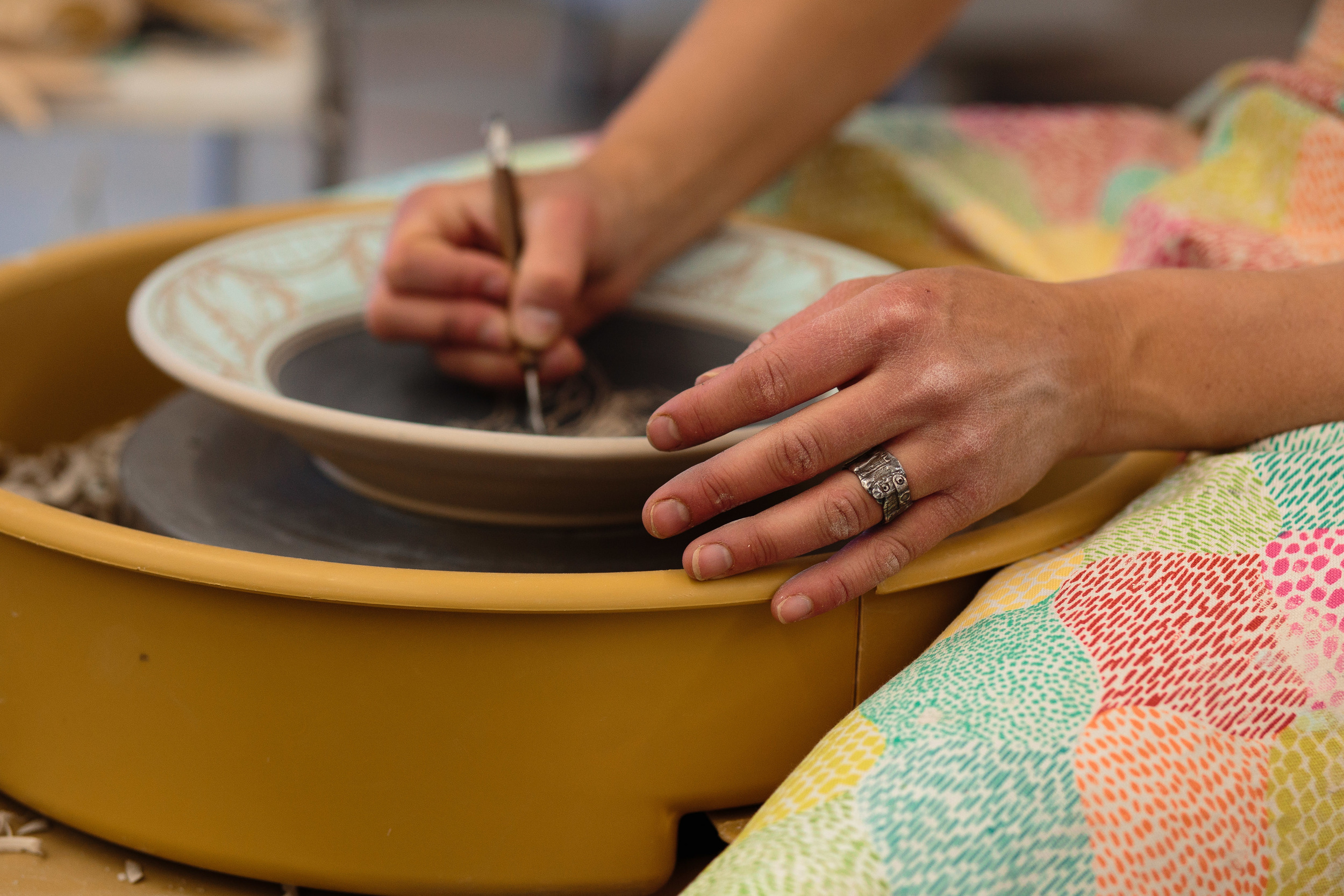 Potter's hand detail carving bowl image