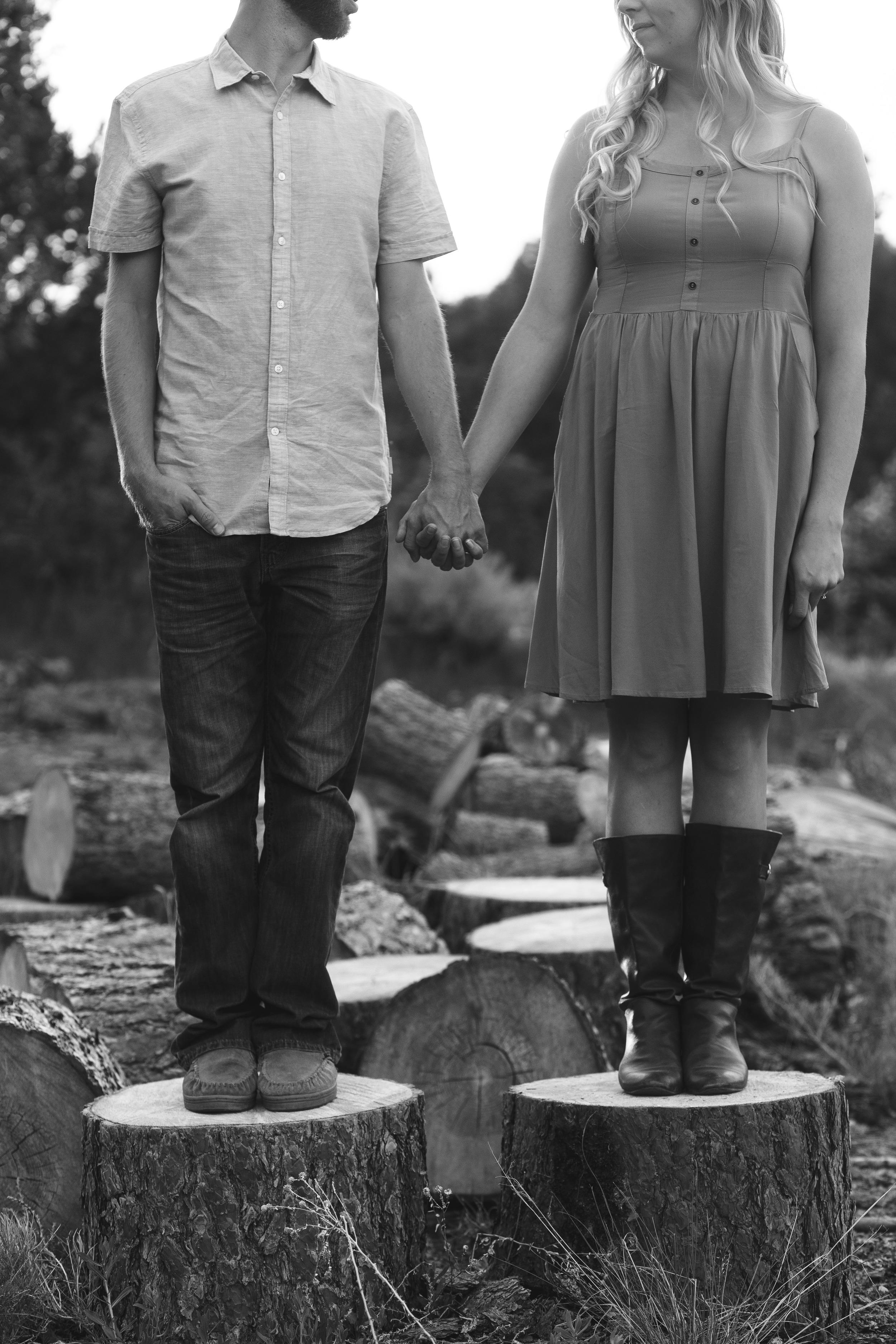 Black and White Faceless Couple Portrait