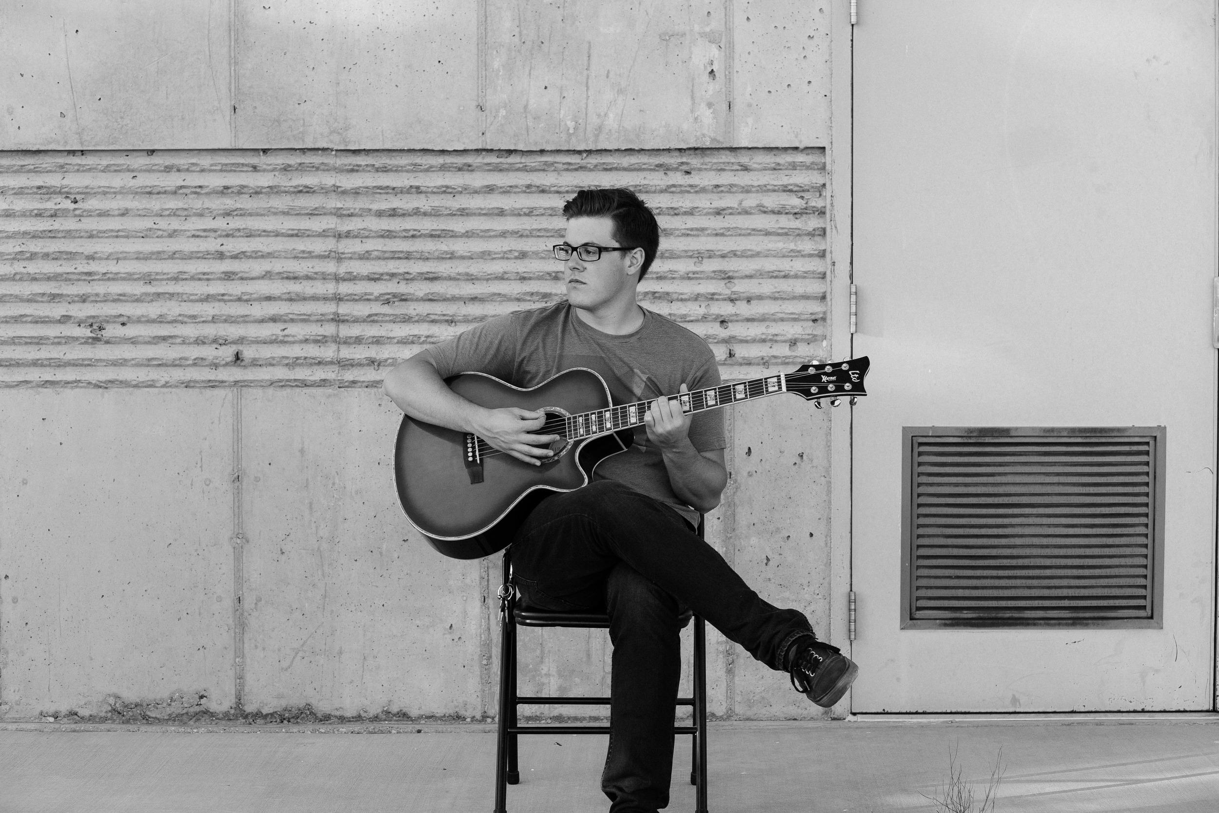 Black and white guitarist portrait photographer Southern Utah
