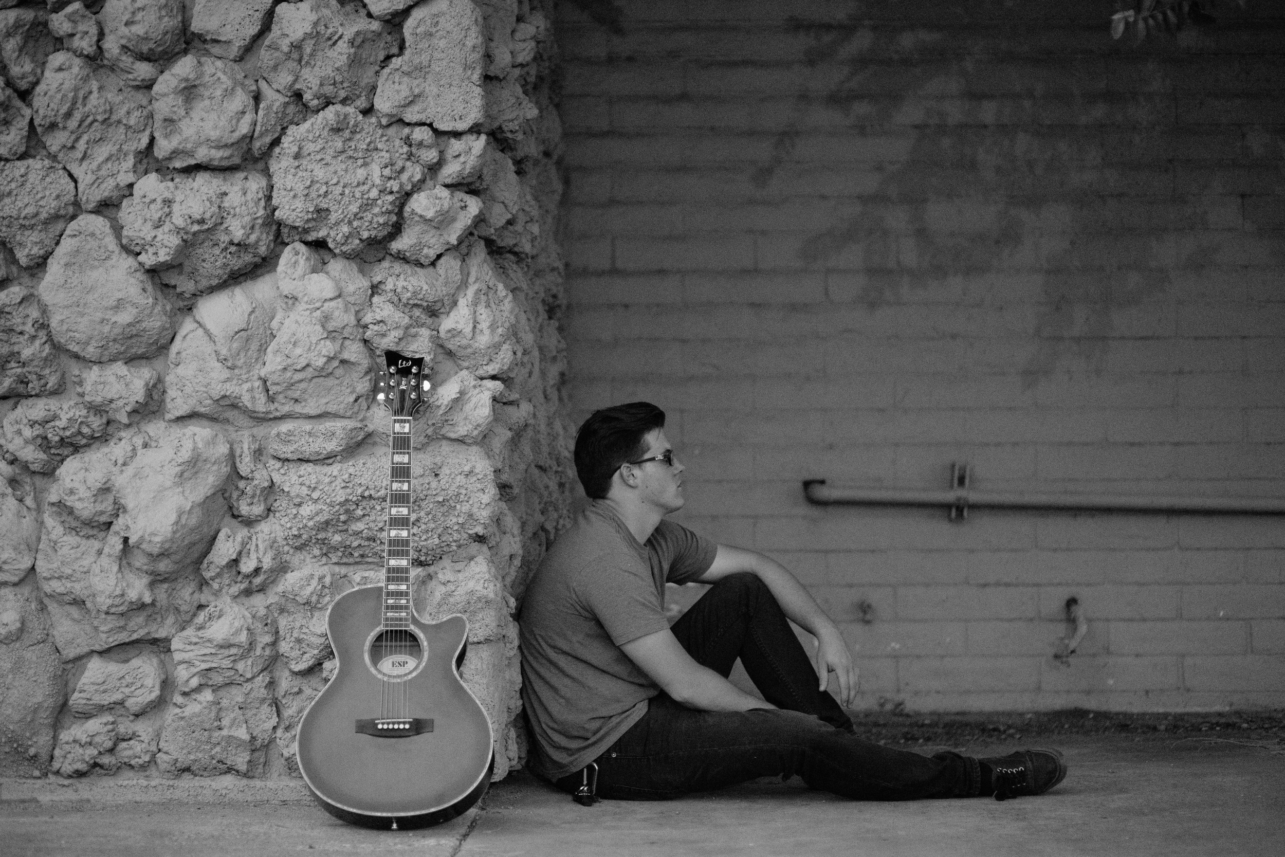 Black and White musician portrait Southern Utah Photographer