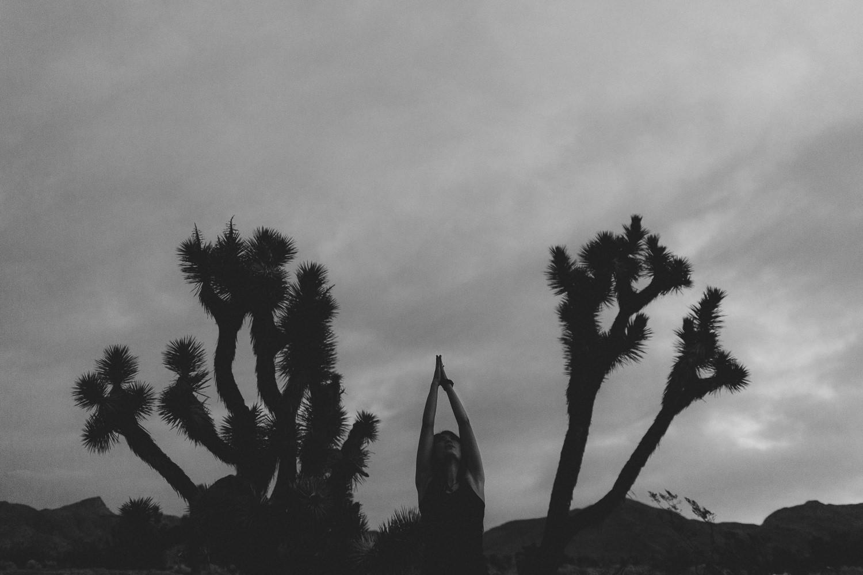 Black and white Joshua Tree yoga photography