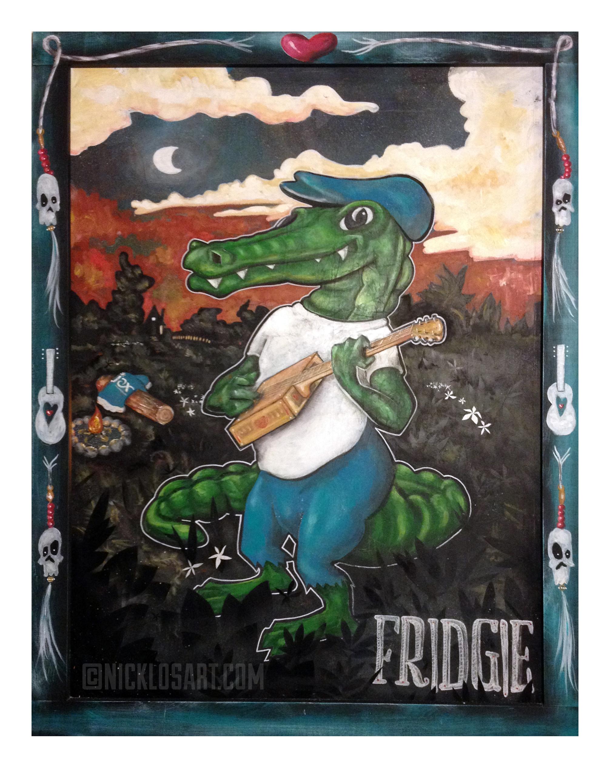 Fridgie Alligator Folk Art