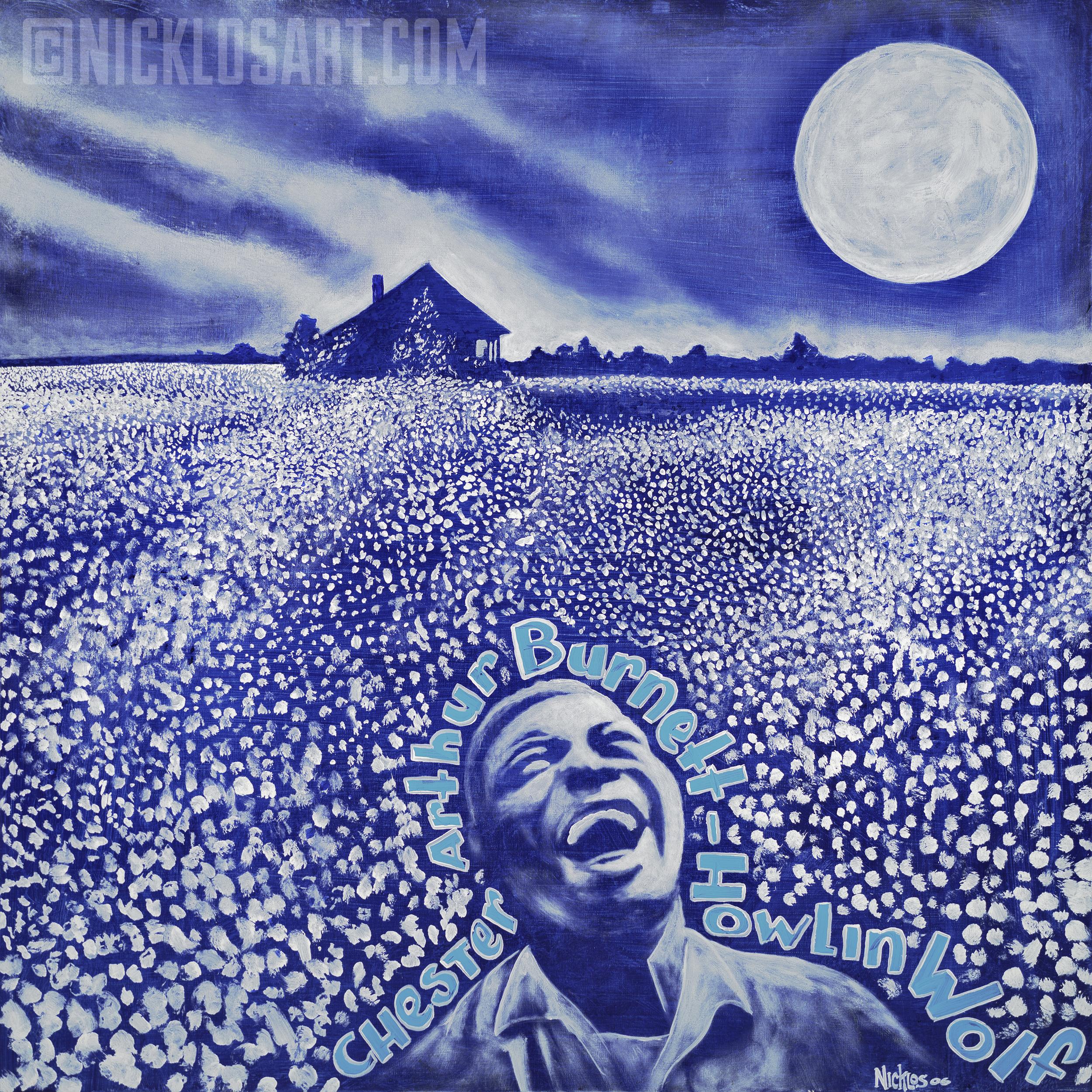 Howlin' Wolf Moon Folk Art