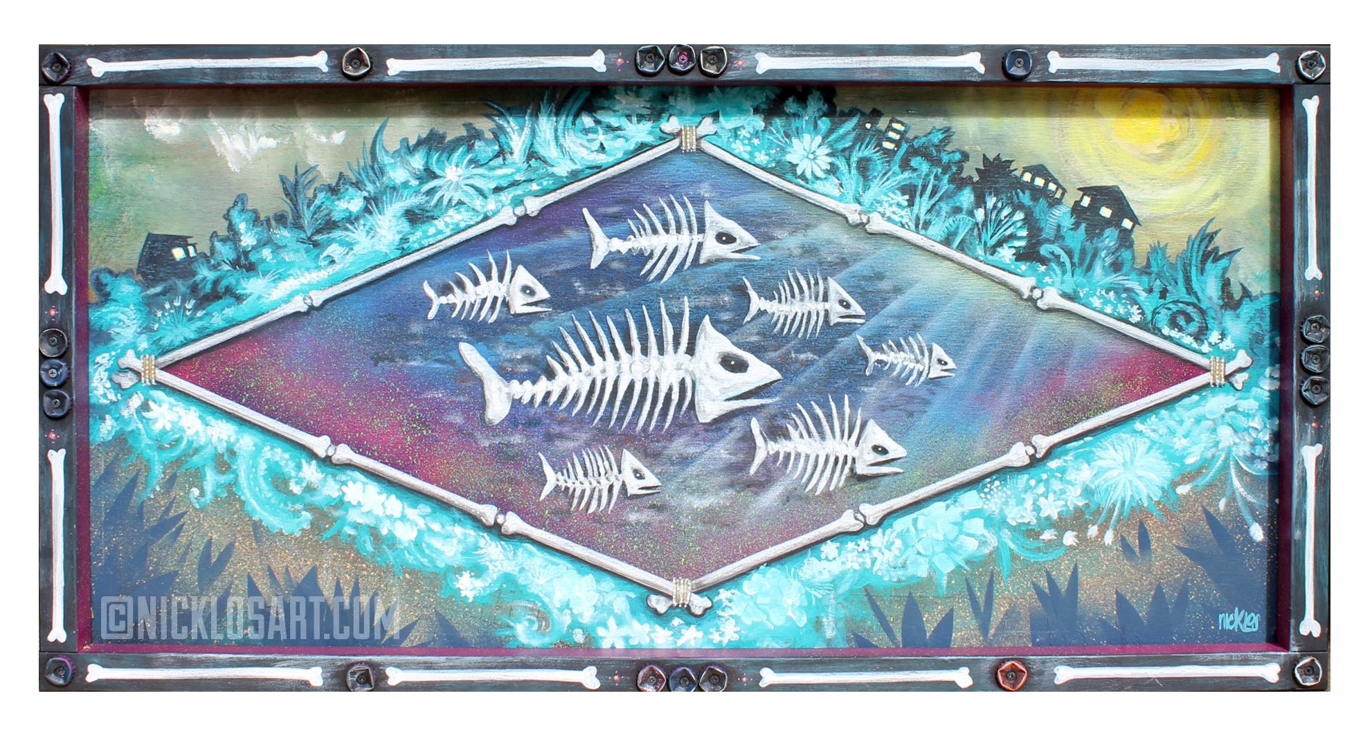 Tropical Bonefish Folk Art