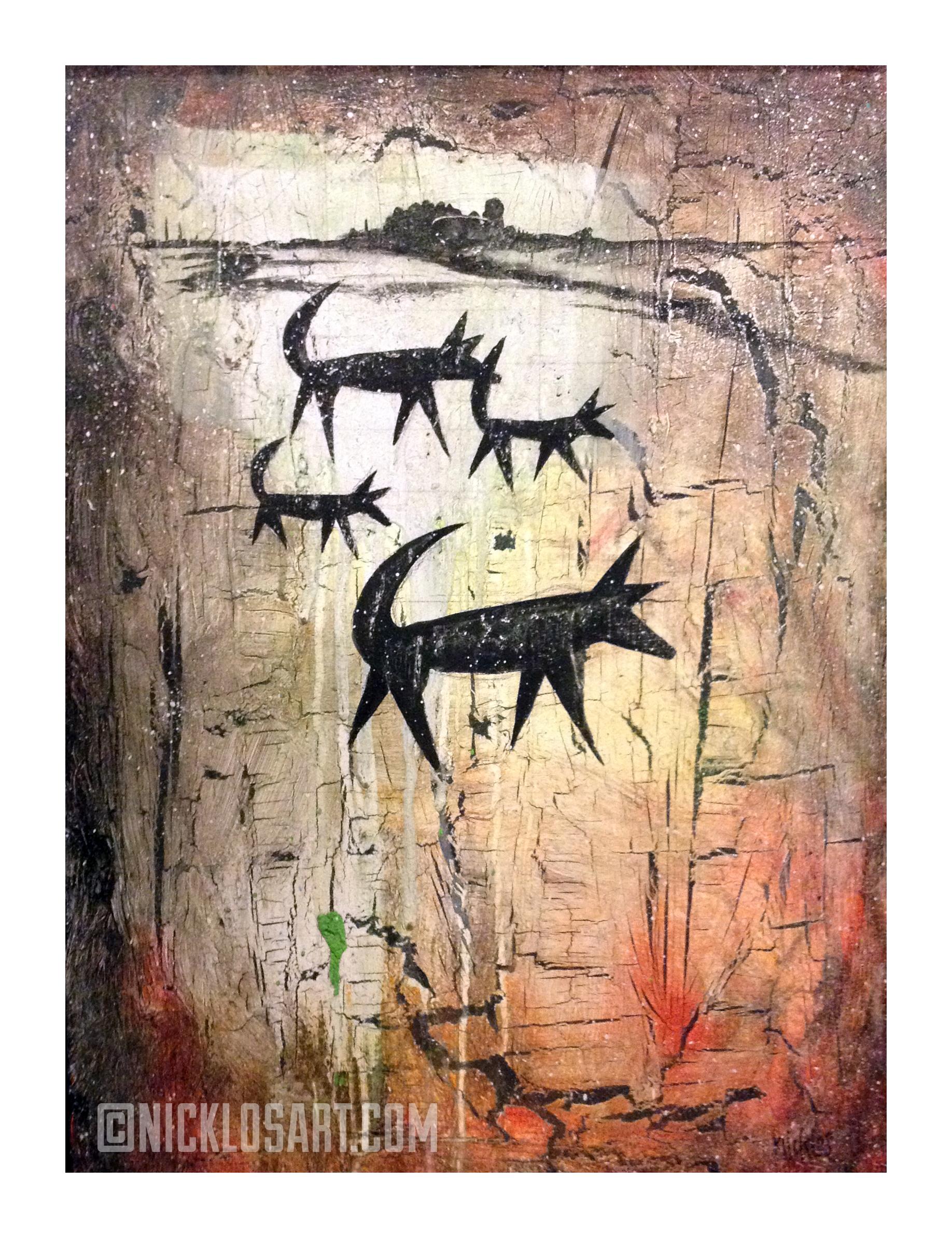 Foxes Folk Art