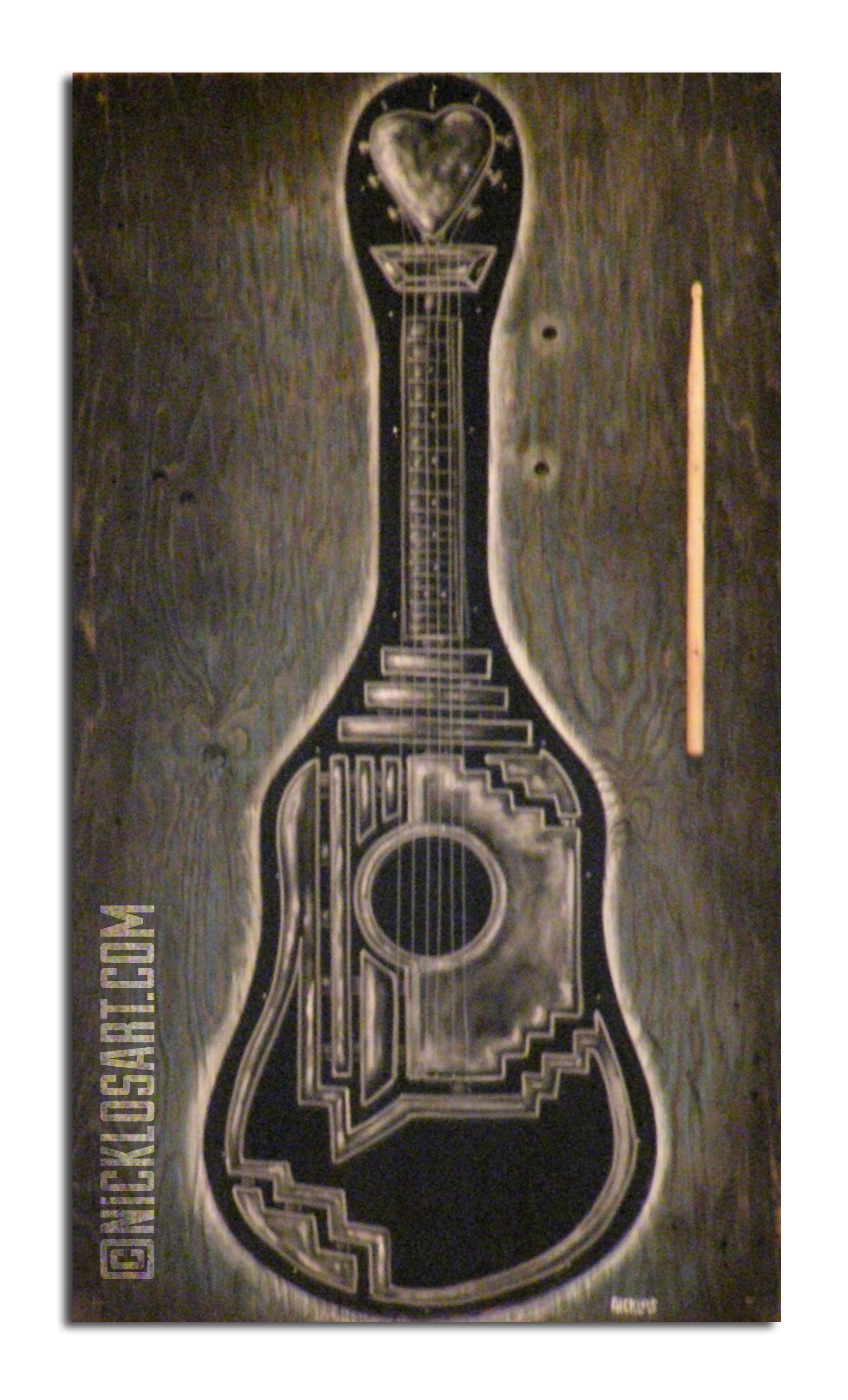 Guitar Case Folk Art