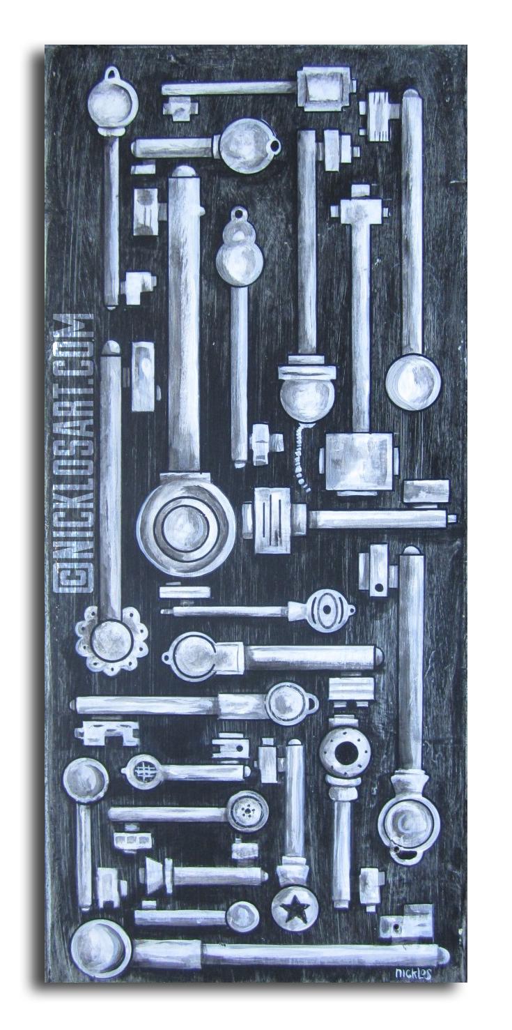 Skeleton Key Folk Art