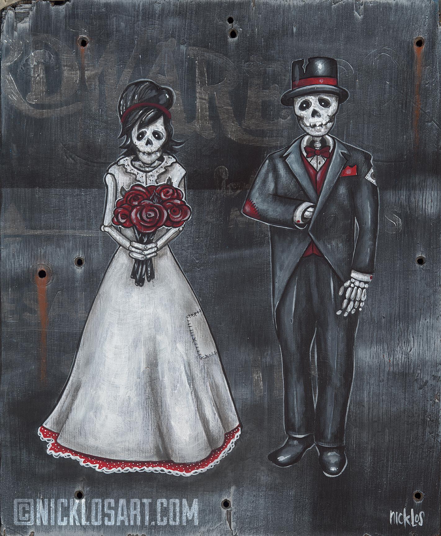Skeleton Wedding Folk Art