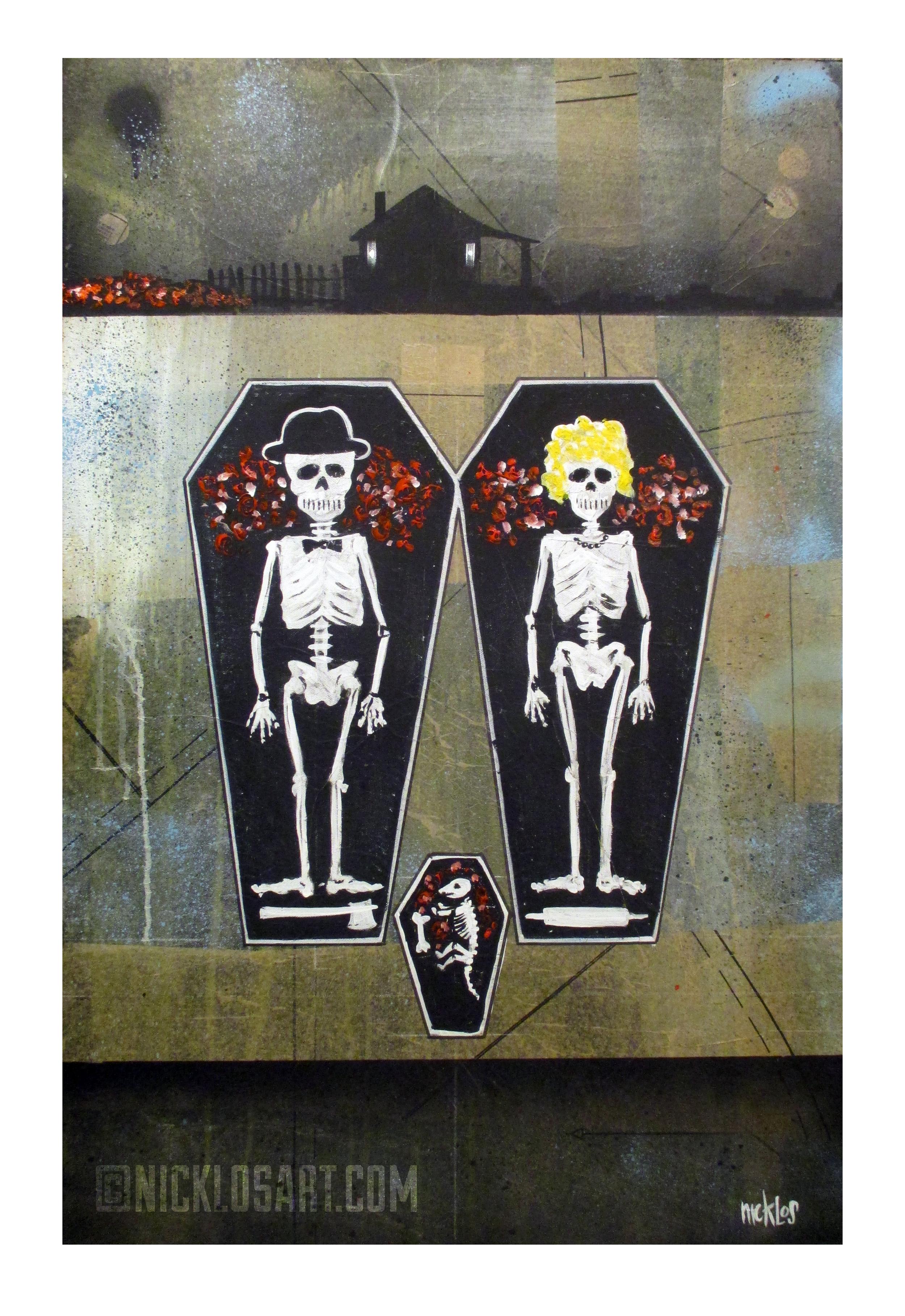 Skeleton Bedtime Folk Art
