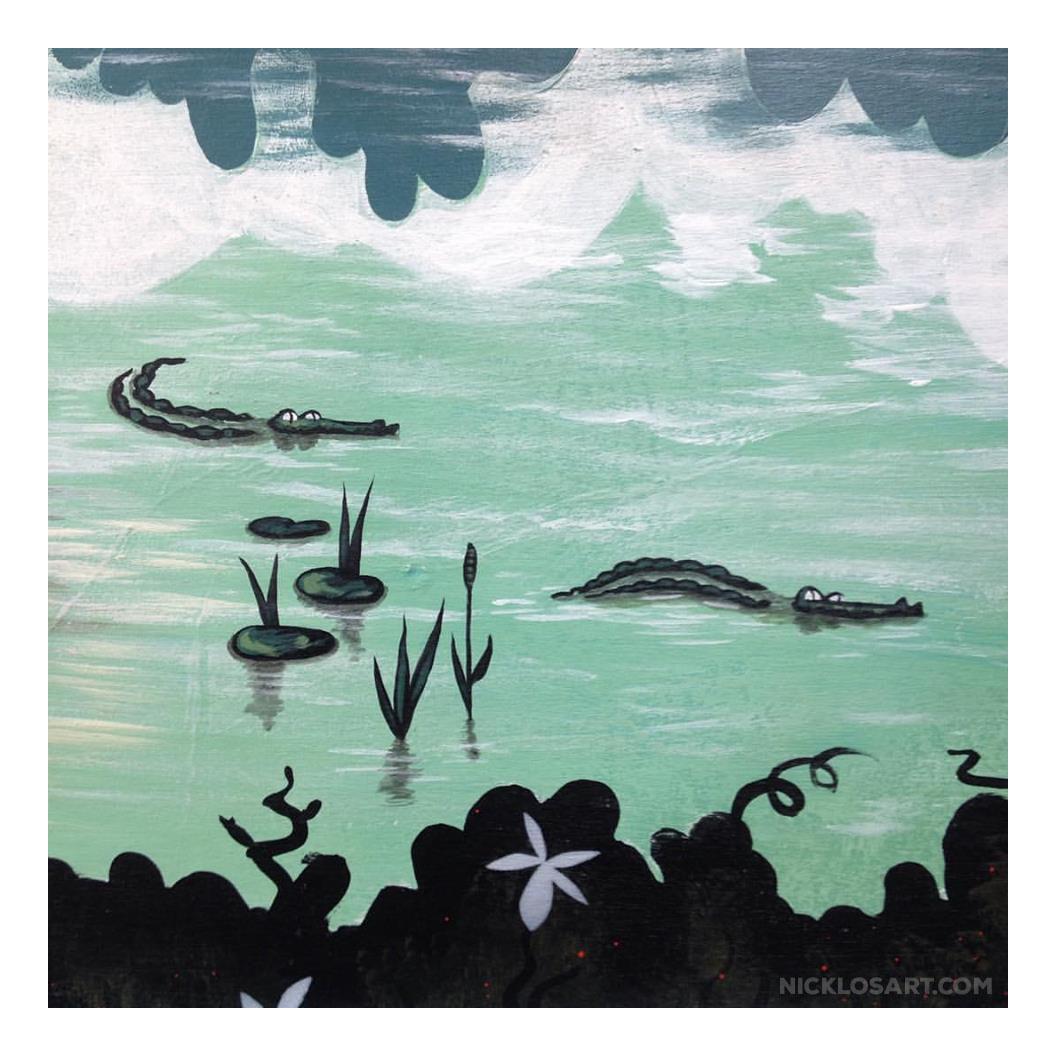 Swamp Gator Folk Art