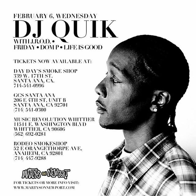 🚨 We got added to DJ Quik Show in Tustin! - FEBRUARY 6th - Martys On Newport!! #Pullup 🙏🏾 #Ages21+ 💪🏽We performing #lifeisgood 🕺🏾 ------------------------------------------------------------------ TICKETS (No Service Fees) at: @gcssantaana @daydayssmokeshop @rodeosmokeshopoc & at @musicrevwhittier 🎟️👈🏽 ------------------------------------------------------------------ #DjQuik #djquick #quikisthename #safeandsound #compton  #pitchinonaparty #letsgetdown #outdahouse #martys #mcfadden #ttown #TustinUp #Anaheim #SantaAna #oc #rap #westCoast #west #gangstarap #hiphop #LifeIsGood