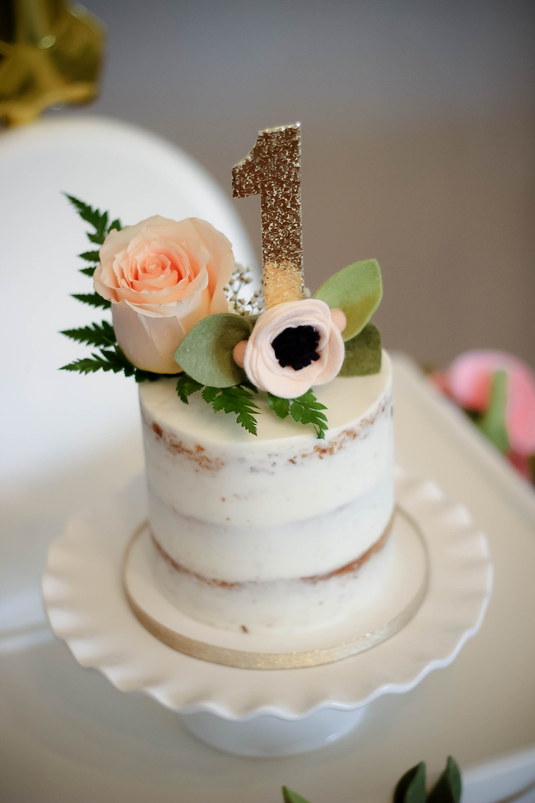 Naked Smash Cake by  Dessert Junkie  with Cake Topper by  Fancy Free Finery