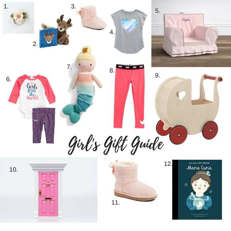 1.  Fancy Free Finery Headband  | 2. ' If I Were a Reindeer' Board Book  and  Jellycat Reindeer  | 3.  Baby Ugg Boot  | 4.  Girl's Nike Shirt  | 5.  Pottery Barn Kids Anywhere Chair  | 6.  Baby Girl Under Armour Set  | 7.  Cuddle and Kind Mermaid  | 8.  Girl's Nike Legging  | 9.  Moover Doll Pram  | 10.  Funny Fable Productions Fairy Door  | 11.  Girl's Ugg Boot  | 12.  Little People, Big Dreams Books