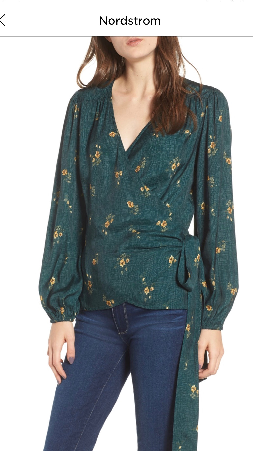 Hinge Floral Spot Wrap Top   GREEN BUG DOT MIX FLORAL, Small  $52.90