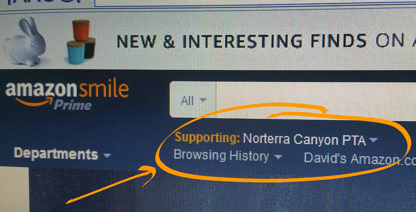 """This is how your Amazon.com screen should look if you've used Norterra Canyon's AmazonSmile link. it should show that you're  """"Supporting: Norterra Canyon PTSA"""""""